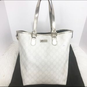GUCCI Large White Silver Joy Tote Bag Leather GG